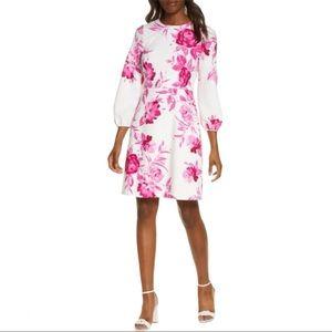 Eliza J Scuba Crepe Fit & Flare Dress White Pink 8